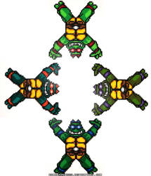 TMNT All 4 Turtles in Time Perler Beads
