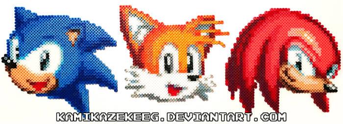 Sonic Mania Heads Perler Beads