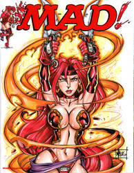 MAD! sketch cover with Red Monika by Maus by billmausart