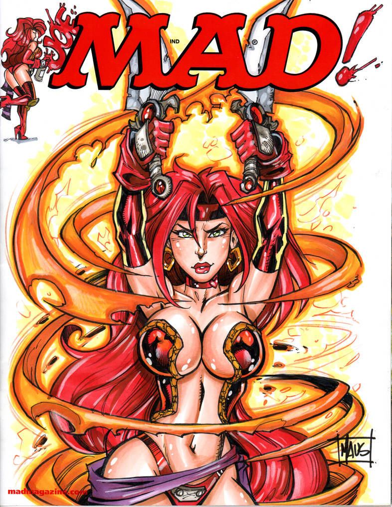 MAD! sketch cover with Red Monika by Maus