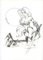 Lady Death pencil commission by billmausart