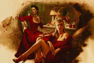 Eva Green as Lucifer Elle Fanning as Eve by GalleryGestapo