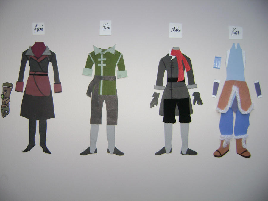 Legend of Korra Paper Costumes by Nightstar1231