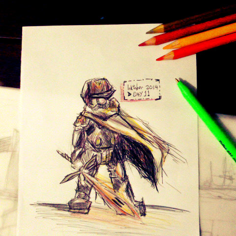 261 - Inktober day 11 - Mustache Knight by eneleven