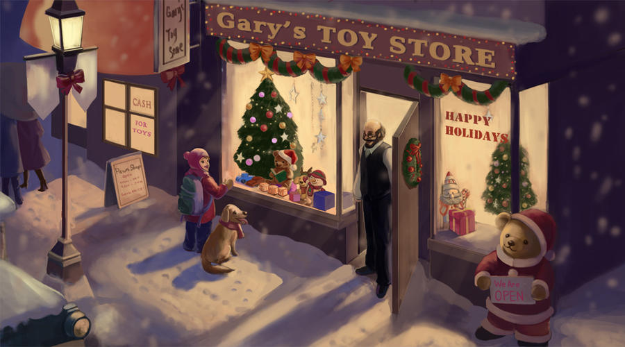 Christmas Toy Store : Toy store on christmas eve by mari chocolat deviantart