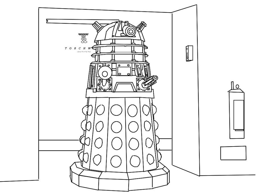 Dalek Cartoon Line Drawing by TorchwoodWerewolf