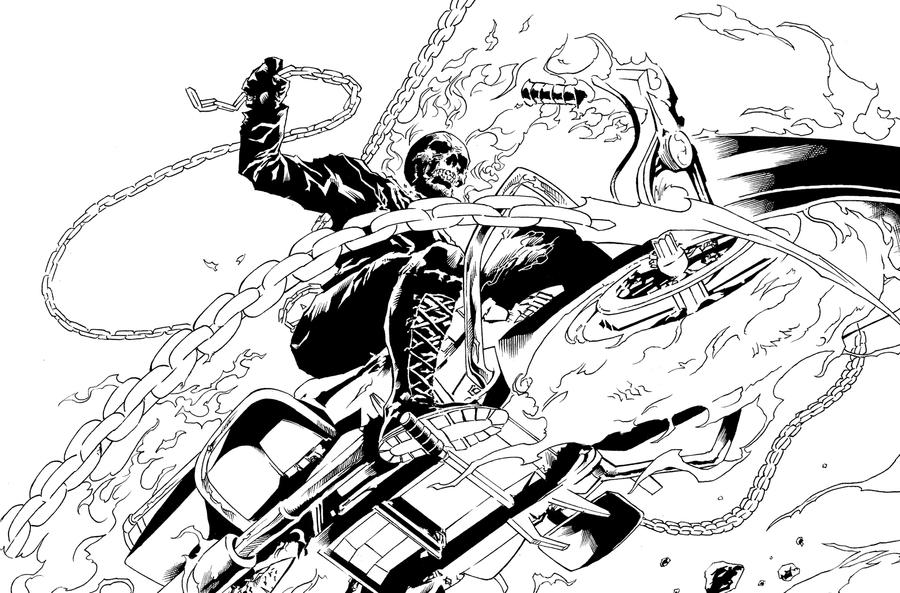 Ghost Rider Pin up inked by orphanshadow on DeviantArt