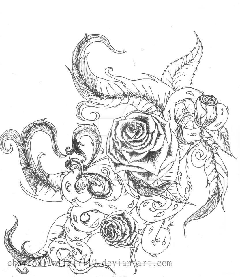 It's just a picture of Gorgeous Rose Vine Drawing