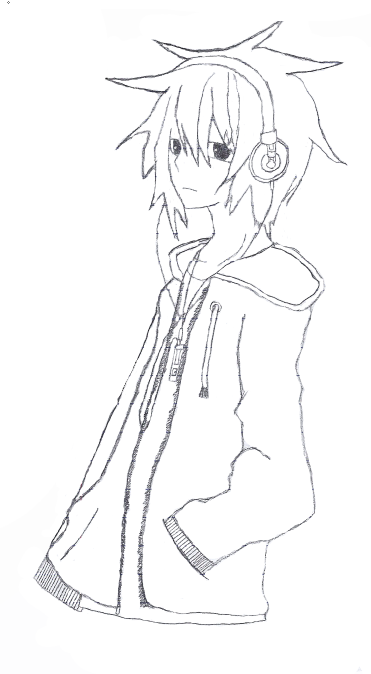 Anime Guy With Hoodie By Silverkid12