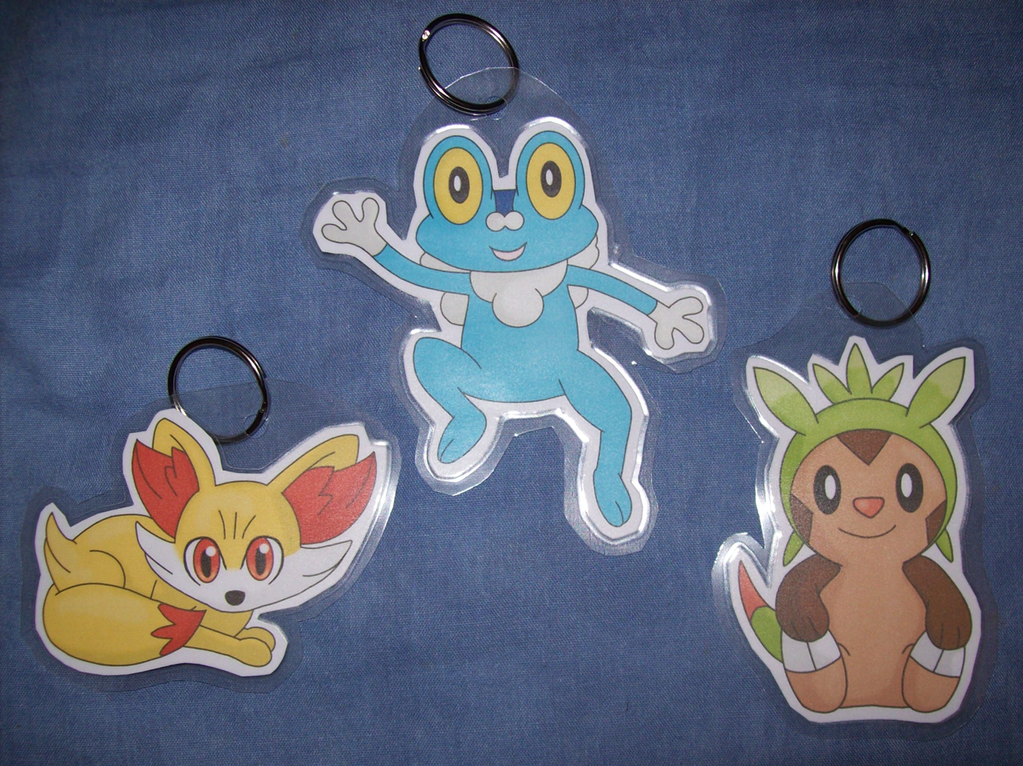 Fennekin, Froakie and Chespin keychains by BlueSmudge
