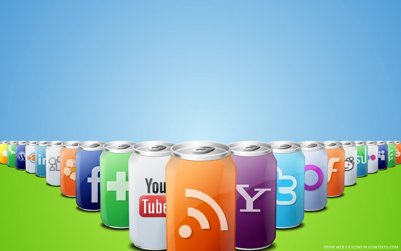Drink Web 2.0 Wallpaper Wide by IconTexto