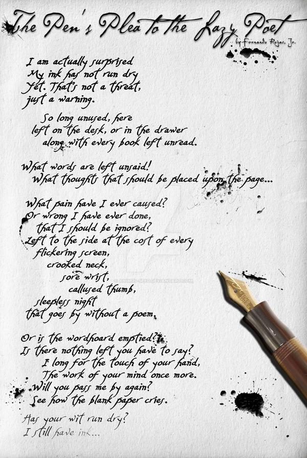 Pen's Plea to the Lazy Poet