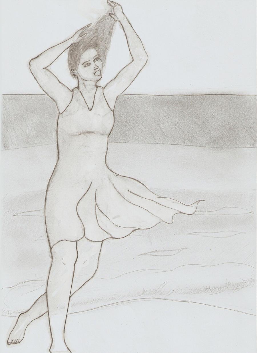 mujer en la playa by harevh