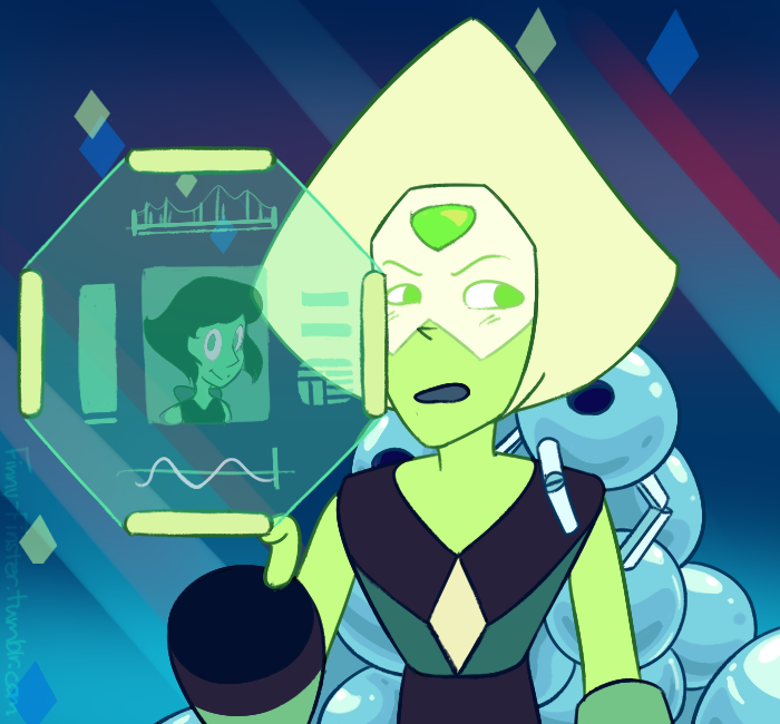Headcanon: Lapis makes the bots and Peridot analyzes the Steven's spit off Lapis' gem and made that sparkly goop.