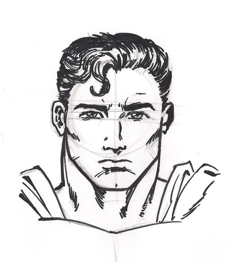 Superman Face Drawing Draw Superman...300 x 388