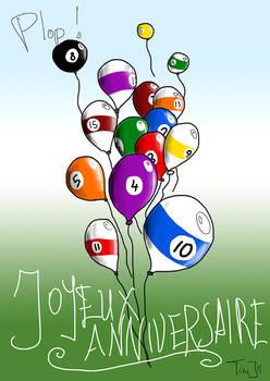Billiard Ball Balloons Card