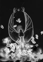 Black Fiendish Angel from the smoke -WIP- by DnKrow7