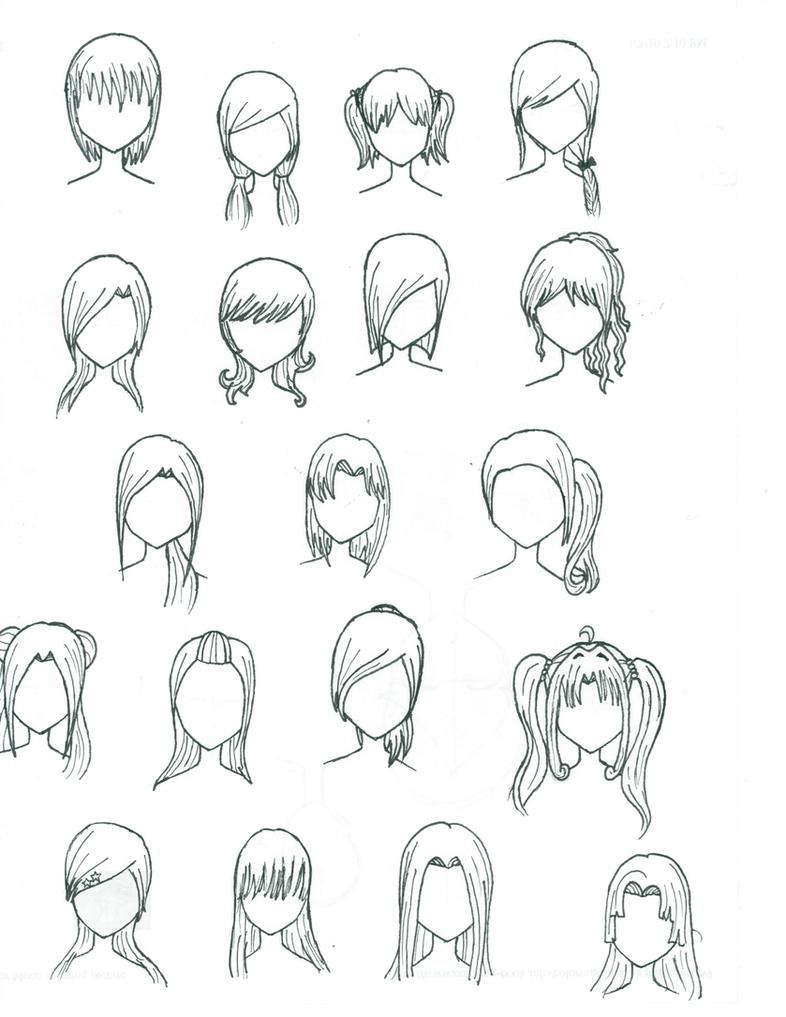 how to draw female manga hair