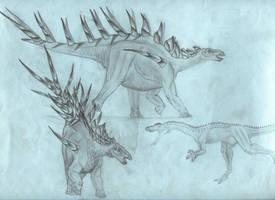 Kentrosaurus and Elaphrosaurus (1999) by jwmorenob