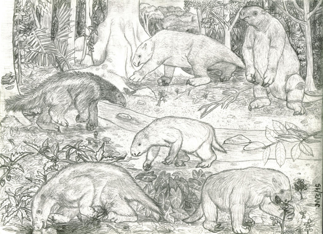 Sloths from the Ware Formation - Pencil (2015). by jwmorenob