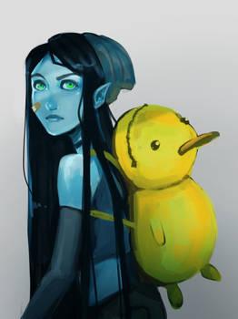 Alien girl with duck backpack