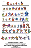 Megaman Bosses, MM7 style by PixelArtPaintings