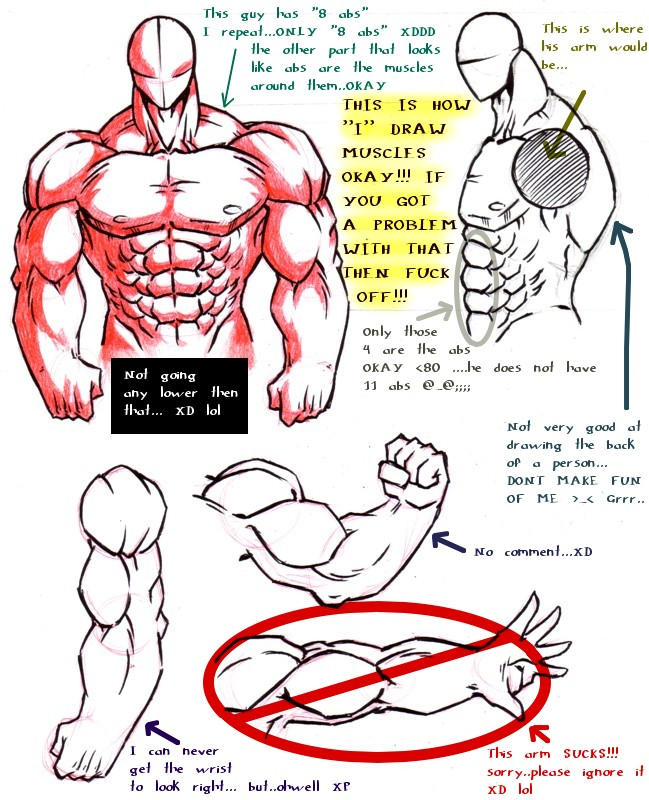 How i draw muscles by
