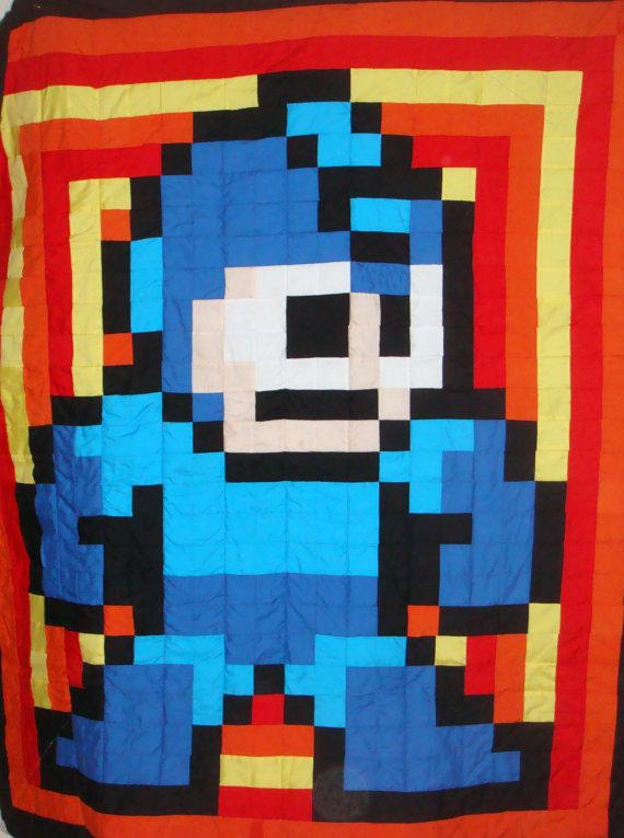 Handmade Mega Man Pixel Quilt by Kalartscene