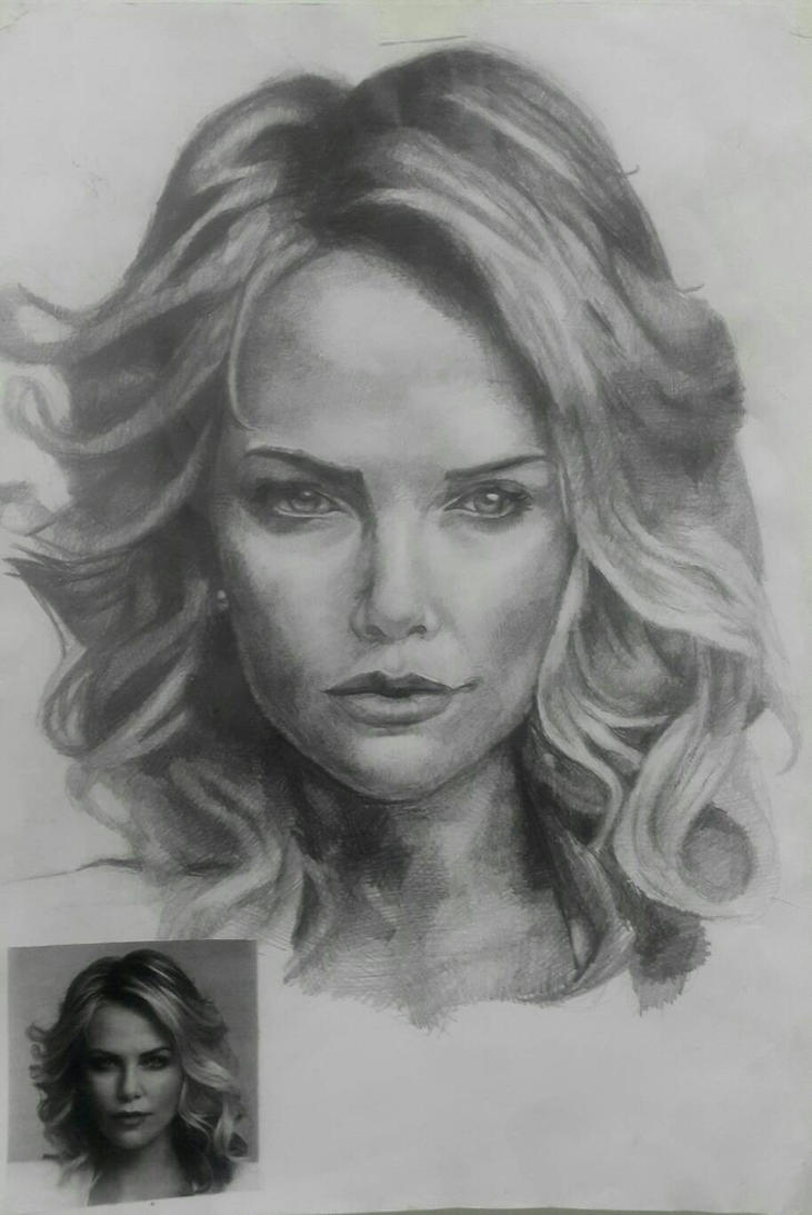 Charlize Theron Portrait  by HellaHappy3
