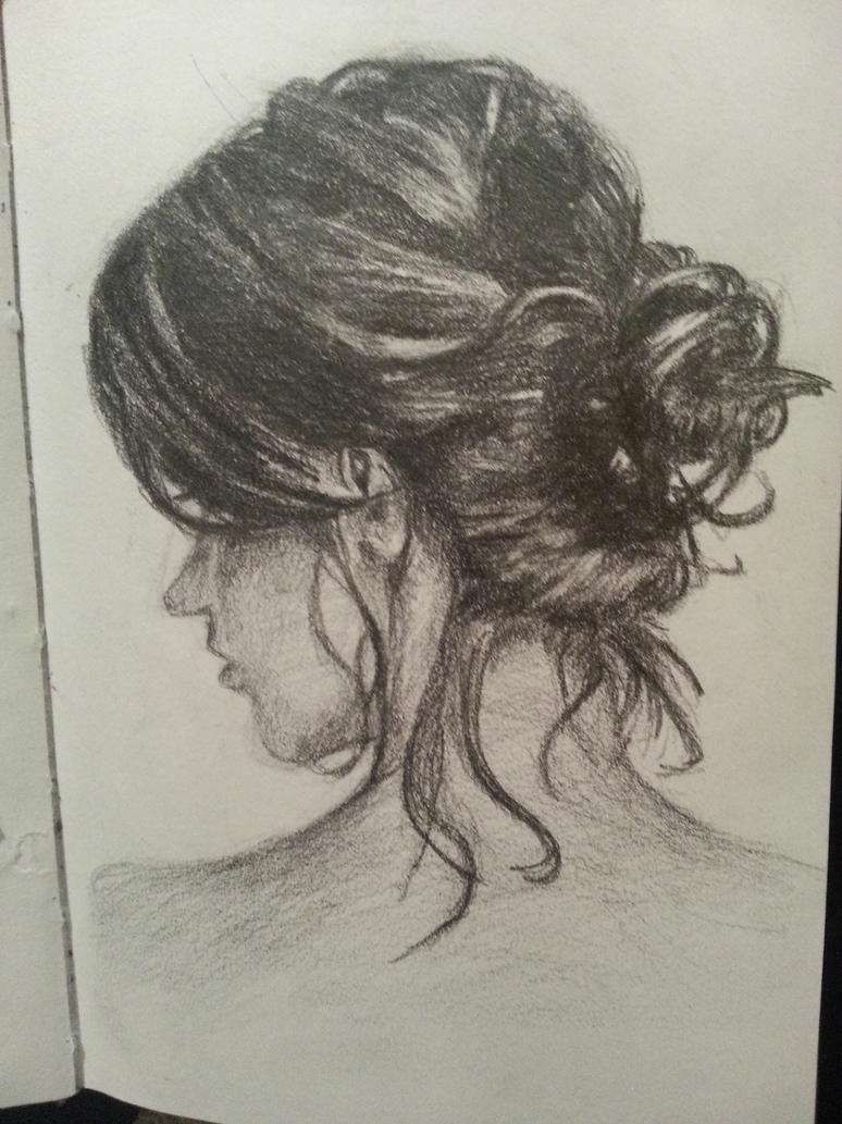 how to draw the back of a girls hair
