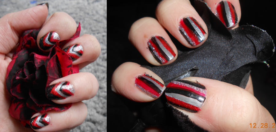 Red black and silver stripe nail art by agathanaomi on deviantart red black and silver stripe nail art by agathanaomi prinsesfo Image collections