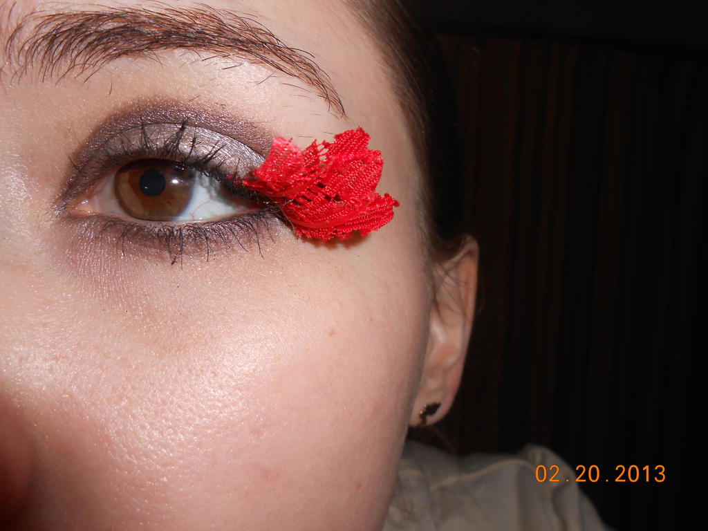 Red Lace Eyelashes by Agathanaomi