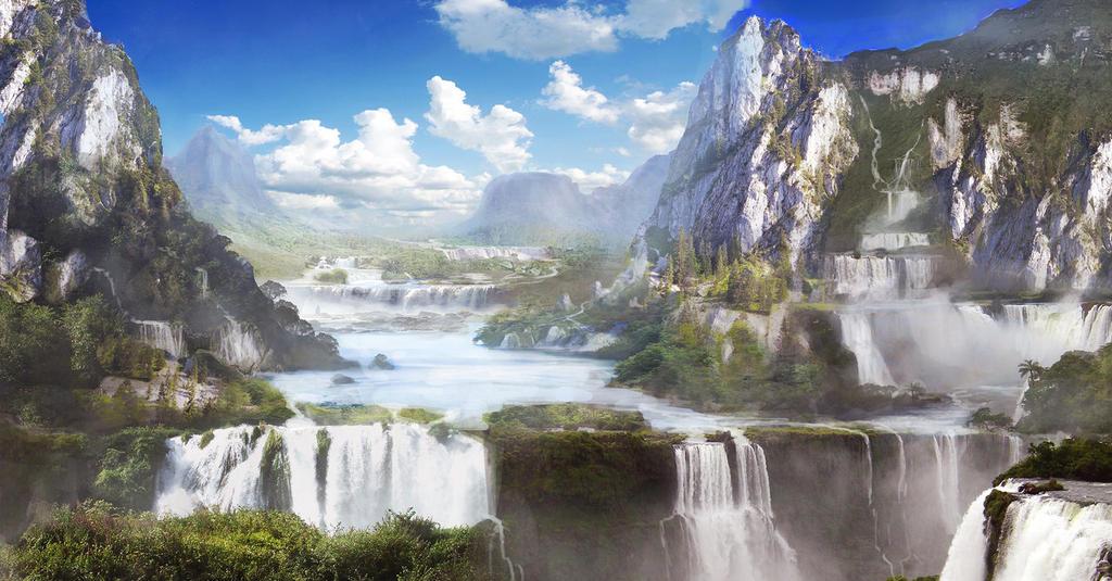 Waterfall Valley By Kingcloud-d4lbtsj by lana-chuh