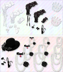 White cat and a black cat accessories set-dl by MikuPirate