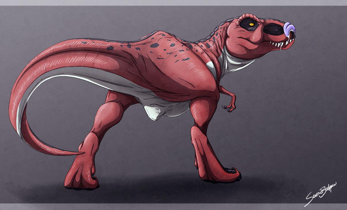Characters: Monsters Akaikosh_as_a_t_rex___backview_by_severusblackpaw__by_akiyamamoto77-daz83bz