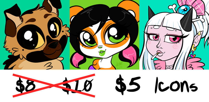 Icon Commission Sale - $5 - ENDS THIS SATURDAY! by zombielily