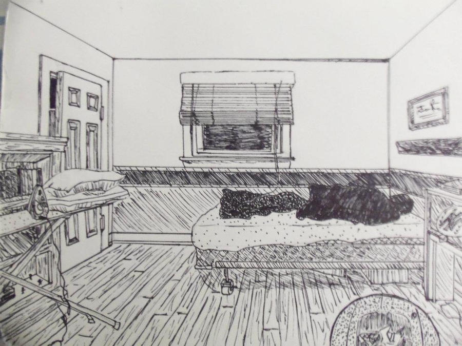 Bedroom in 1 point perspective by xxnike kovadrinxx on for Bedroom 2 point perspective