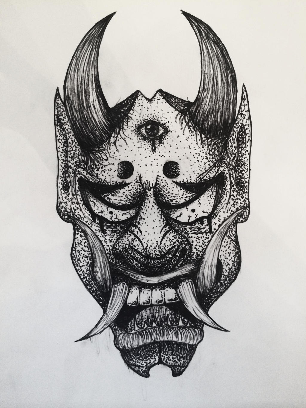 how to draw japanese oni mask