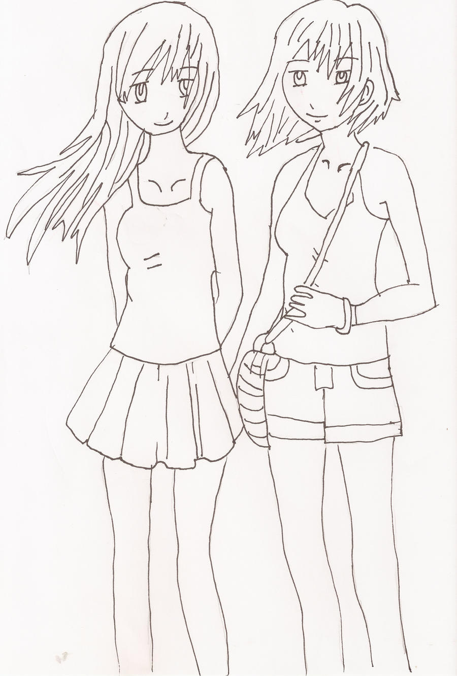 Manga And Anime Traditional Media Drawings - Quoteko Two Best Friends Hugging Drawing