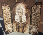The Thunderer -  Thor Wood-burned triptych