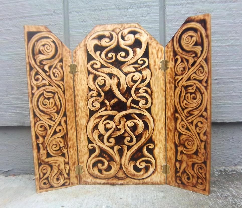 stave designs triptych wood burned by runehammer9 on. Black Bedroom Furniture Sets. Home Design Ideas