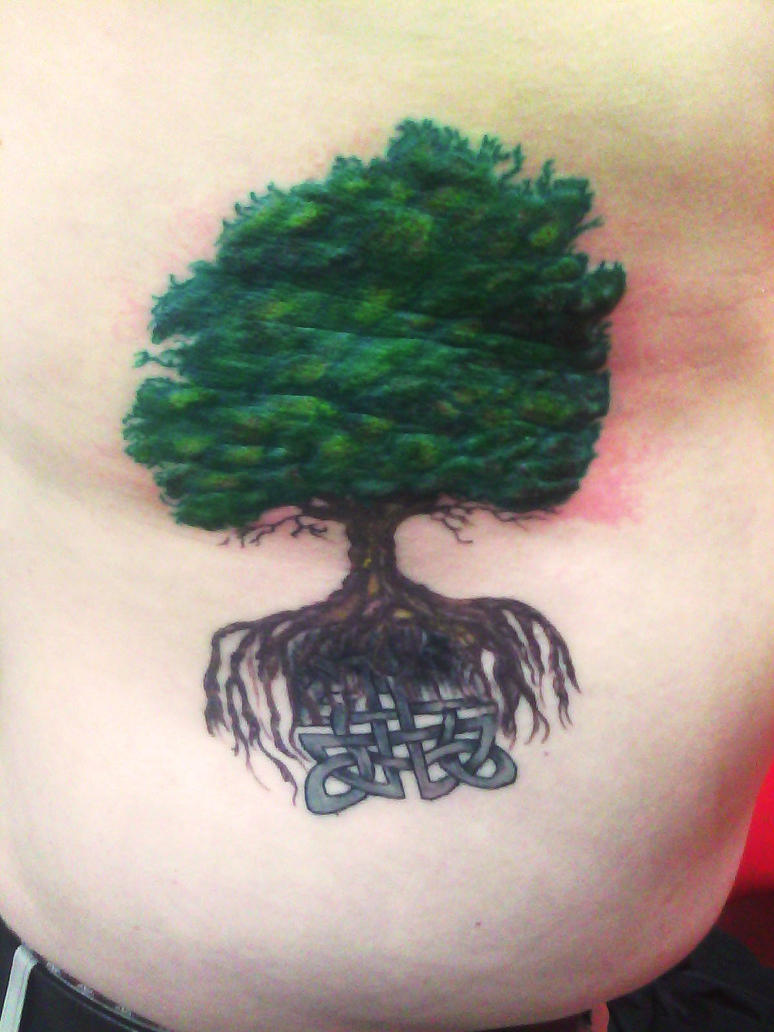 Green Celtic Tree Tattoo