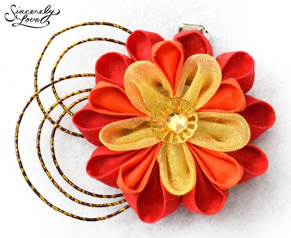 Scarlet Peony Kanzashi by SincerelyLove