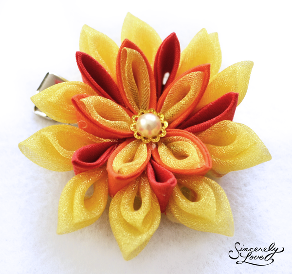Fire Blossom Kanzashi by SincerelyLove
