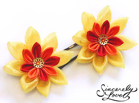 3cfb62569 Sachishiro 696 168 Commission: Fire Lotus Kanzashi by SincerelyLove