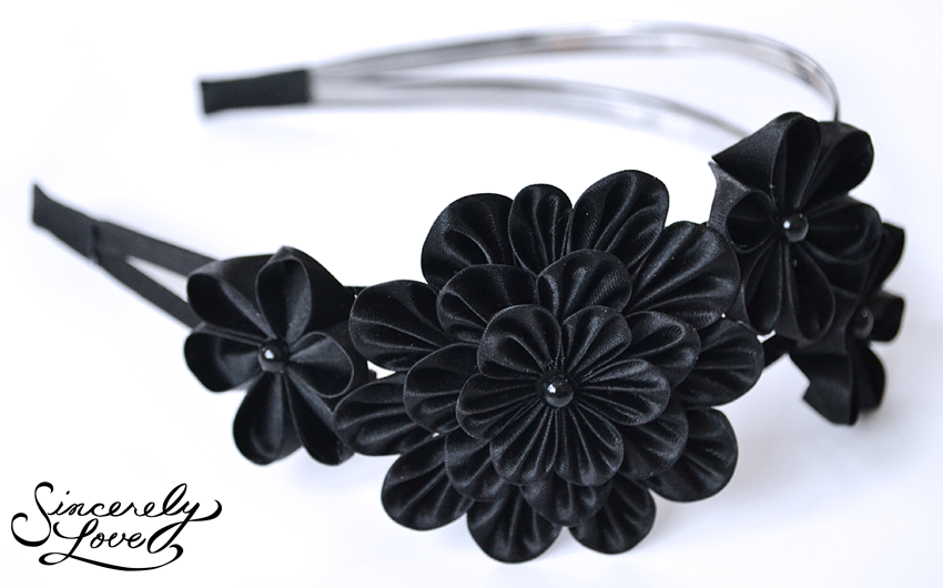 Commission: Black Velvet Kanzashi by SincerelyLove