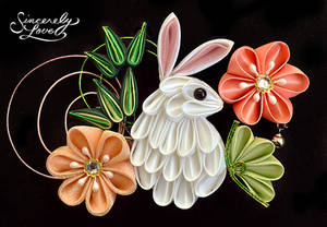 Bunny In The Flower Garden Kanzashi