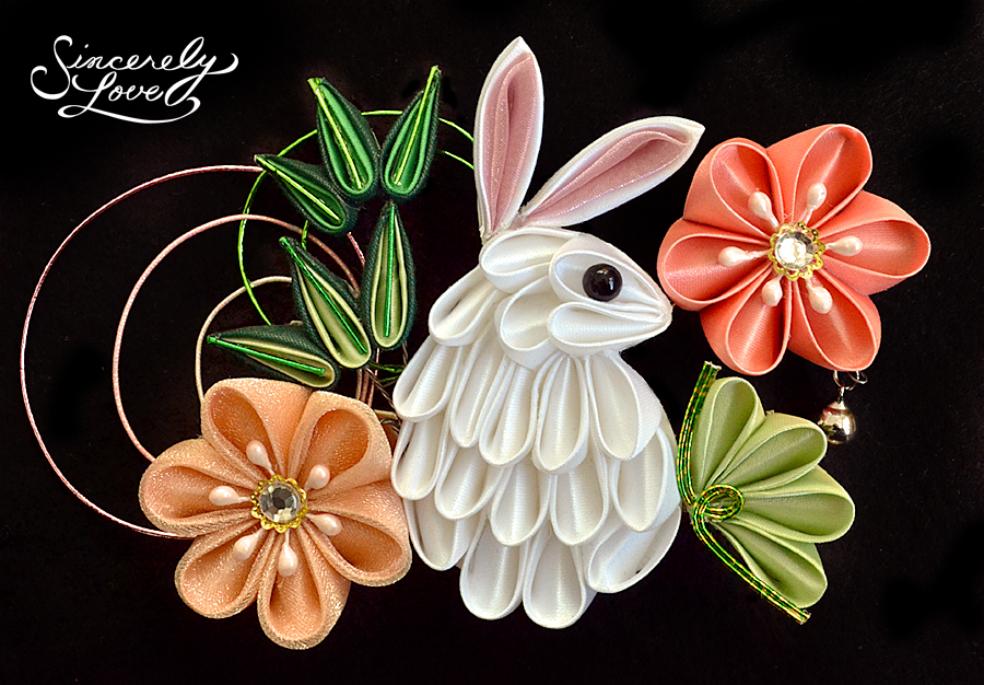 Bunny In The Flower Garden Kanzashi by SincerelyLove