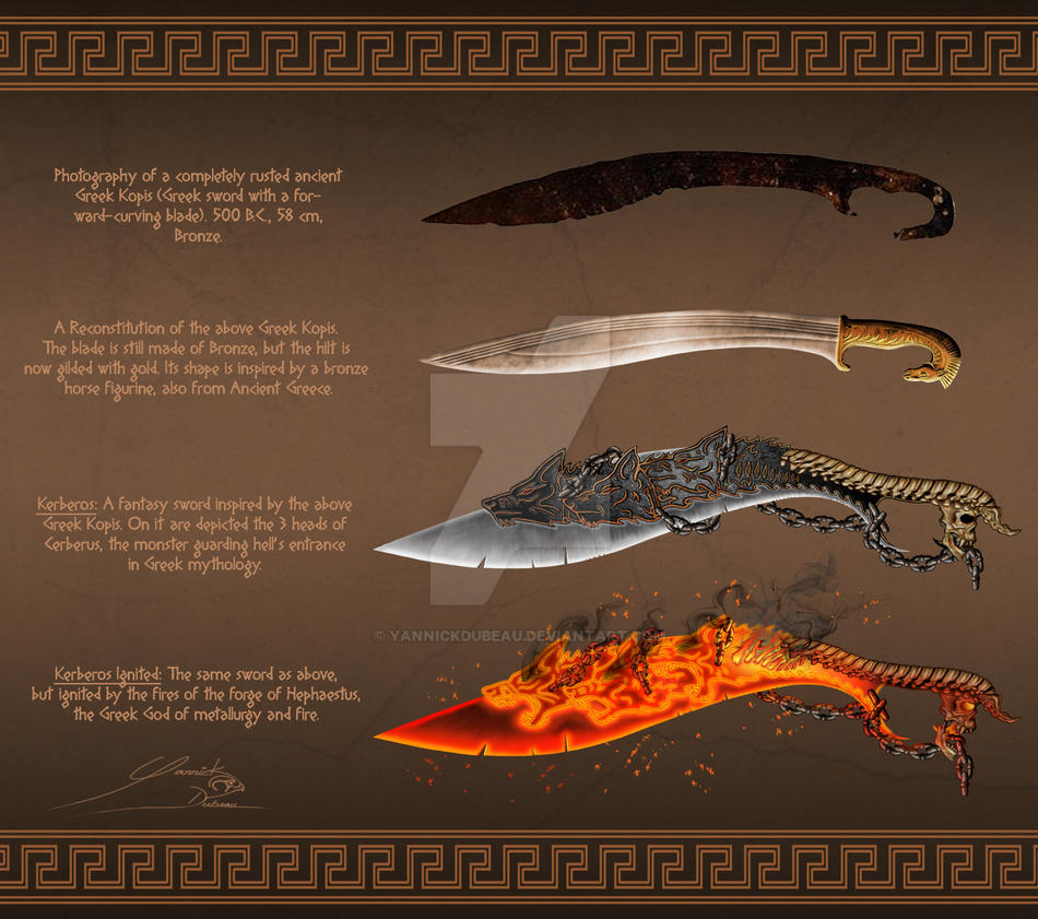 Ancient Greek Kopis With Fantasy Sword By Yannickdubeau On