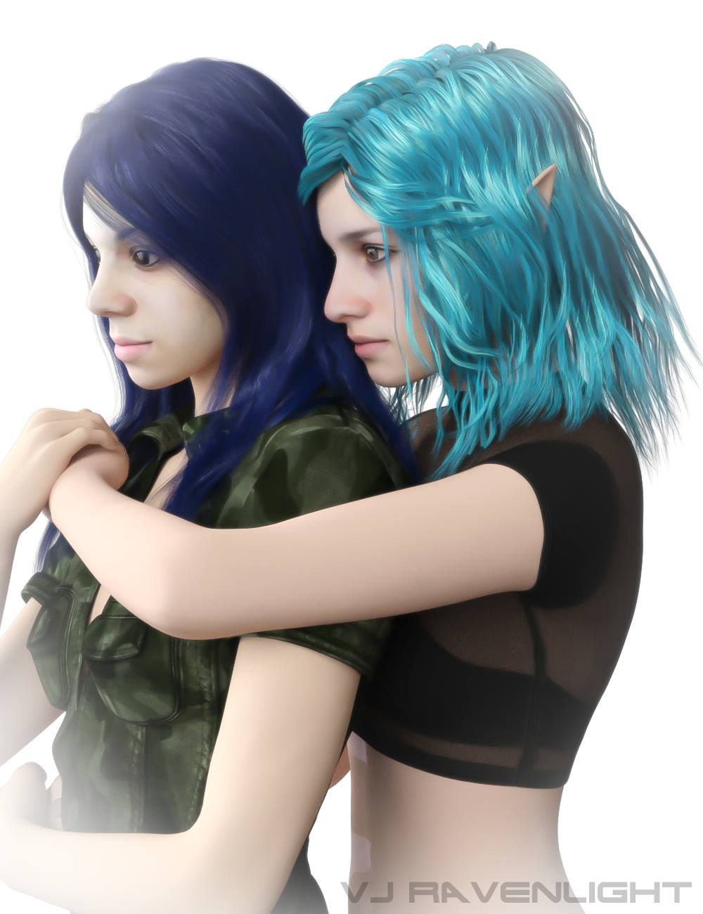 Custom Digital Portrait: Tam and Aleera! by VJRavenlight